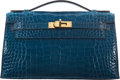"Luxury Accessories:Bags, Hermès Shiny Mykonos Alligator Kelly Pochette Bag with Gold Hardware. A, 2017. Condition: 2. 8.5"" Width x 5"" Heigh..."