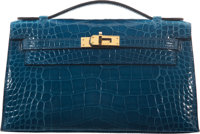 "Hermès Shiny Mykonos Alligator Kelly Pochette Bag with Gold Hardware A, 2017 Condition: 2 8.5"" Width x 5&quo..."