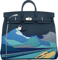 Hermes Limited Edition 50cm Bleu de Prusse Togo Leather Endless Road HAC Birkin Bag with Palladium Hardware D