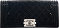 """Luxury Accessories:Bags, Chanel Black Quilted Patent Leather Boy Clutch with Silver Hardware. Condition: 2. 10"""" Width x 5"""" Height x 2"""" Depth..."""