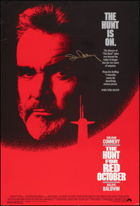 """The Hunt for Red October (Paramount, 1990). Rolled, Very Fine-. Autographed One Sheet (27"""" X 40"""") SS. Thriller..."""
