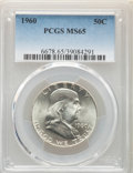 Franklin Half Dollars, 1960 50C MS65 PCGS. This lot will also include the following: 1962 50C MS65 PCGS; and a 1963 50C MS65 PCGS.... (Total: 3 coins)