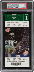 Football Collectibles:Tickets, 2001 Tom Brady Comes in For an Injured Drew Bledsoe Full Ticket from Patriots vs. Jets - Highest Graded 1 of 2....