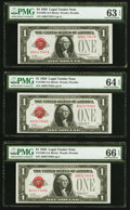 Small Size:Legal Tender Notes, Fr. 1500 $1 1928 Legal Tender Notes. Cut Half Sheet. PMG Graded. . ... (Total: 6 notes)