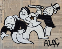 Alec Monopoly (b. 1986) Arrested, 2010 Acrylic, spray paint, gold leaf, and collage on canvas with r