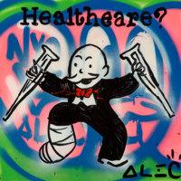 Alec Monopoly (b. 1986) Healthcare, 2011 Acrylic and spray paint on canvas with resin 18 x 18 x 3