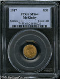 Commemorative Gold: , 1917 G$1 McKinley MS64 PCGS. Shimmering green-gold ...