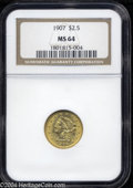 Liberty Quarter Eagles: , 1907 $2 1/2 MS64 NGC. Vivacious luster dances atop the ...