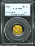 1910 $2 1/2 PR63 PCGS. An enchanting Roman Gold proof Quarter Eagle that appears at first glance to have flawless featur...