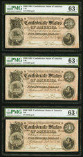 Confederate Notes:1864 Issues, T64 $500 1864 PF-2 Cr. 489 Three Consecutive Examples PMG Choice Uncirculated 63 EPQ.. ... (Total: 3 notes)