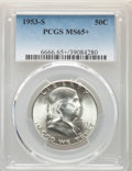 Franklin Half Dollars, 1953-S 50C MS65+ PCGS; and a 1953 MS65 PCGS. PCGS Population: (6846/1208). NGC Census: (3624/681). CDN: $37 Whsle. Bid... (Total: 2 coins)