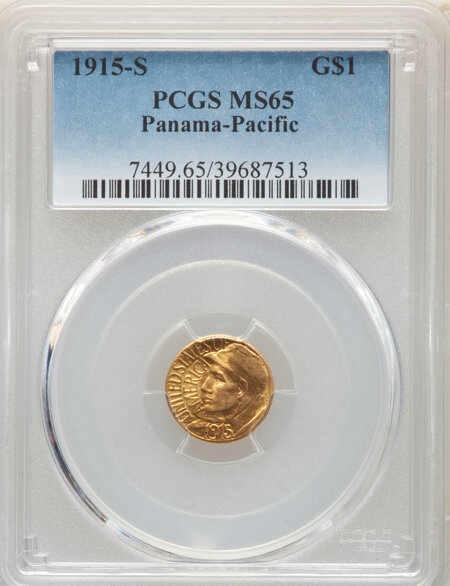 1915-S G$1 PAN-PAC Gold Dollar, MS 65 PCGS
