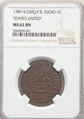 Colonials, 1787 CENT Fugio Cent, STATES UNITED, 4 Cinquefoils, Pointed Rays, MS62 Brown NGC. NGC Census: (51/101). PCGS Population: (...