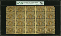 Fr. 1232 5¢ Second Issue Uncut Sheet of Twenty PMG About Uncirculated 50 Net