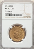Indian Eagles, 1915-S $10 -- Cleaned -- NGC Details. AU. Mintage 59,000....
