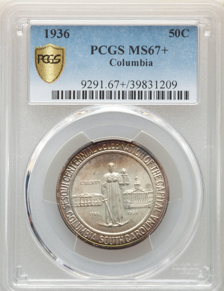 1936 50C Columbia, MS PCGS Secure PCGS Plus 67 PCGS