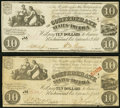Confederate Notes:1861 Issues, T28 $10 1861 Two Examples Fine-Very Fine; Very Fine.. ... (Total: 2 notes)