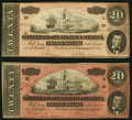 Confederate Notes:1864 Issues, T67 $20 1864 Two Examples Very Fine; About Uncirculated.. ... (Total: 2 notes)