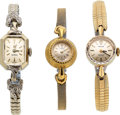 Timepieces:Wristwatch, Rolex And Two Omega Gold Lady's Wristwatches. ... (Total: 3 Items)