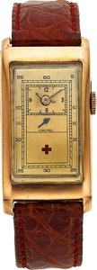 "Timepieces:Wristwatch, Longines, Unusual ""Red Cross"" Gold Doctor's Watch, circa 1940. ..."