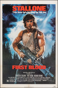 "First Blood (Orion, 1982). Folded, Very Fine. One Sheet (27"" X 41"") Drew Struzan Artwork. Action"