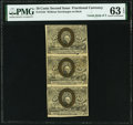 Fractional Currency:Second Issue, Fr. 1244 10¢ Second Issue Uncut Vertical Strip of Three PMG Choice Uncirculated 63 EPQ.. ...