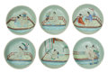 Ceramics & Porcelain, A Set of Six Chinese Erotic Porcelain Plates, 19th century . 6 inches (15.2 cm) (each). ... (Total: 6 Items)