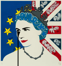 Pure Evil (b. 1968) Brexit Queen, early 21st century Screenprint in colors with hand-finished ink em