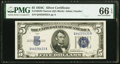Small Size:Silver Certificates, Fr. 1653 $5 1934C Narrow Silver Certificate. PMG Gem Uncirculated 66 EPQ.. ...