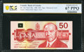World Currency, Canada Bank of Canada $50 1988 BC-59aA Replacement PCGS Banknote Superb Gem Unc 67 PPQ.. ...