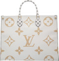 """Luxury Accessories:Bags, Louis Vuitton Limited Edition Green & White Giant Monogram Coated Canvas OnTheGo Bag. Condition: 1. 16"""" Width x 12.5"""" ..."""