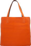 "Luxury Accessories:Bags, Hermès 45cm Orange H & Gold Clemence Leather Double Sens Reversible Tote Bag. N Square, 2010. Condition: 2. 17"" Wi..."