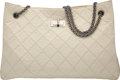 "Luxury Accessories:Bags, Chanel Cream Quilted Distressed Lambskin Leather Reissue 2.55 Tote Bag with Gunmetal Hardware. Condition: 4. 13.5"" Len..."