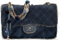 """Luxury Accessories:Bags, Chanel Limited Edition Blue Quilted Denim Paris-Dubai Pom Pom Jumbo Flap Bag with Silver Hardware. Condition: 3. 12"""" L..."""