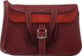 """Luxury Accessories:Bags, Hermès 31cm Rouge H Clemence Leather Halzan Bag with Palladium Hardware. R Square, 2014. Condition: 3. 12"""" Width x..."""