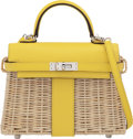 Luxury Accessories:Bags, Hermès Jaune de Naples Swift Leather & Osier Wicker Mini Kelly Picnic with Palladium Hardware. D, 2019. Condition: 1...