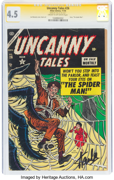 Uncanny Tales #26 Signature Series - Stan Lee (Atlas, 1954) CGC VG+ 4.5 Cream to off-white pages....