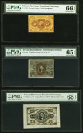 Fractional Currency:First Issue, Fr. 1230 5¢ First Issue PMG Gem Uncirculated 66 EPQ. Fr. 1246 10¢ Second Issue PMG Gem Uncirculated 65 EPQ. Fr. 1251SP... (Total: 3 notes)