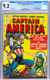 Captain America Comics #78 (Timely, 1954) CGC NM- 9.2 Cream to off-white pages
