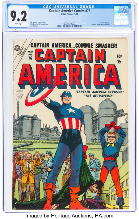Captain America Comics #76 (Timely, 1954) CGC NM- 9.2 White pages....