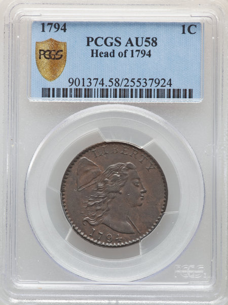 1794 1C Head of 1794, MS, BN PCGS Secure 58 PCGS