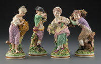 A Group of Four Meissen Porcelain Figures: Four Seasons, Germany, circa 1865 Marks to each: