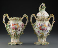 A Pair of Coalbrookdale Porcelain Two-Handle Mantle Vases, England, circa 1830 10 x 8-1/4 inches (25.4 x 21.0 cm)