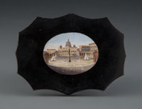 An Italian Micro Mosaic Paper Weight Depicting a View of St. Peter's Square, late 19th century 2-3/4 x 3-3/4 x 1/