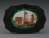 An Italian Micro Mosaic Paper Weight Depicting a View of the Roman Forum, late 19th century 3-3/8 x 4-3/4 x 1/2 i