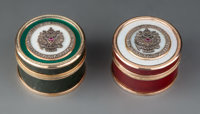 Two Hardstone, 14K Vari-Color Gold, Guilloché Enamel, Diamond, and Cabochon-Mounted Boxes in the Manner of Faberg...