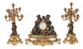 Clocks & Mechanical, A Three-Piece French Gilt and Patinated Bronze Figural Clock Garniture, 19th century . Marks to face: VITTOZ FABT A PARIS... (Total: 3 Items)
