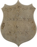 Political:Ribbons & Badges, Horace Greeley: Unlisted Shield Name Badge. ...