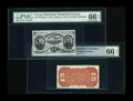 Fractional Currency:Third Issue, Fr. 1272SP 15c Third Issue Narrow Margin Pair PMG Gem Uncirculated 66 EPQ.... (Total: 2 notes)
