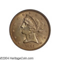 Liberty Half Eagles: , 1861 $5 MS64 PCGS. This is a choice Mint State example ...